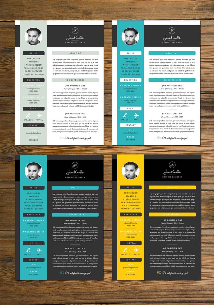 bright color resume